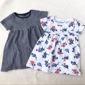 Old Navy 2 T-shirt dresses Red White Blue 0-3 M